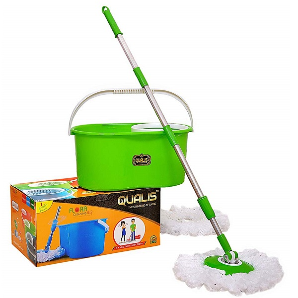 QUALIS Virgin Plastic with SS Rod Flora 360 Degree Spin Magic Mop