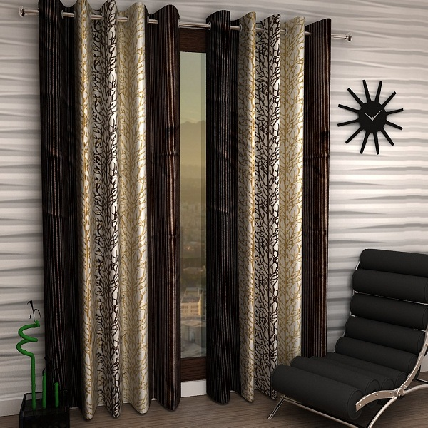 Home Sizzler Abstract 2 Piece Eyelet Polyester Door Curtain Set